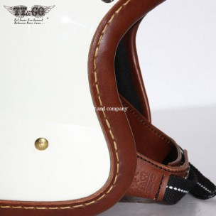 500-TX Leather Trim Hand Sewn, Brown on Ivory