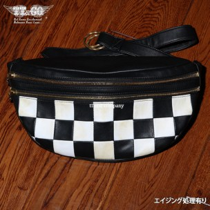 Checkers Shoulder Bag Genuine Leather Aged Whites