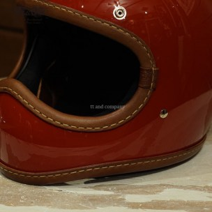 Toecutter Leather Rim Shot Hand Sewn Brown Leather on Red