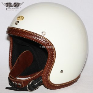 Super Magnum Leather Rim Shot Hand Sewn Basket Style Brown Ivory